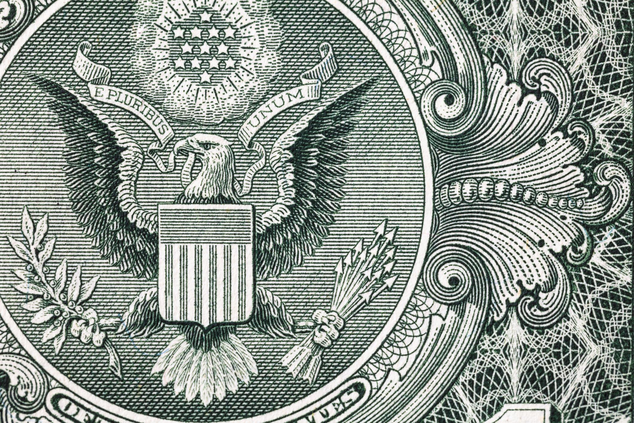 Closeup of back side of 1 dollar bill